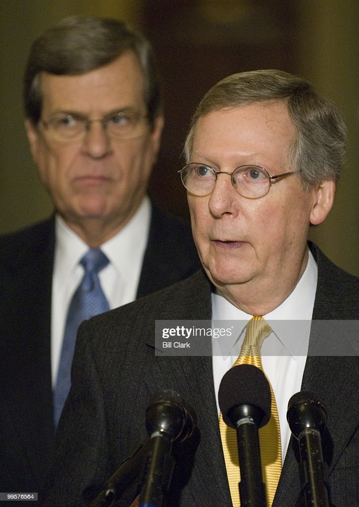 Senate Minority Leader Mitch McConnell, R-Ky., speaks as Sen. Trent Lott, R-Miss., looks on during a news conference following the Republican policy luncheon in the Capitol on Wednesday, Jan. 17, 2007.