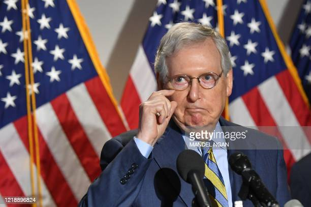 Senate Minority Leader Mitch McConnell R-KY speaks to the media after a Republican policy luncheon at the US Capitol in Washington, DC on June 9,...