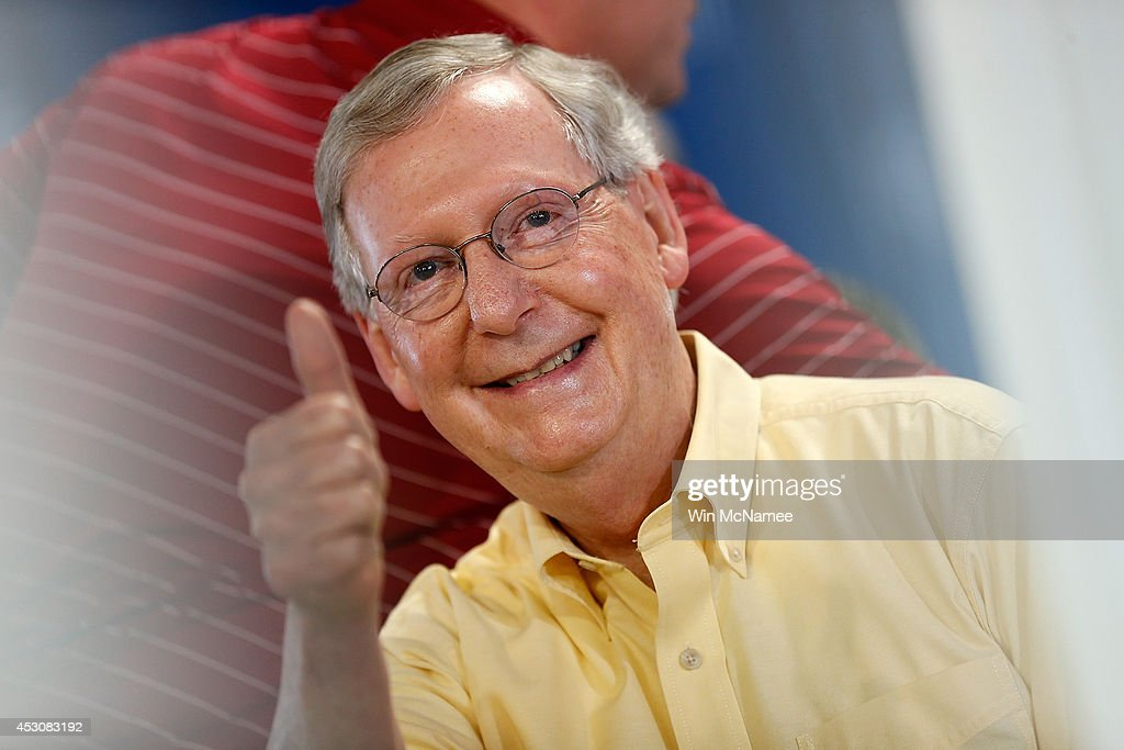 Democratic Challenger Alison Lundergan Grimes And Senate Minority Leader McConnell Locked In Tight Race : News Photo