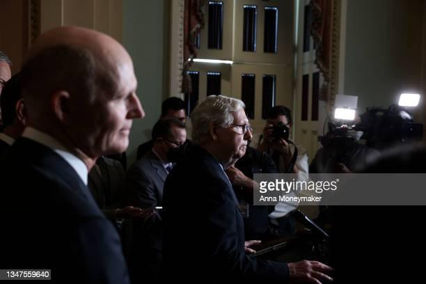 Senate Minority Leader Mitch McConnell speaks to reporters following a weekly Republican policy luncheon at the U.S. Capitol on October 19, 2021 in...