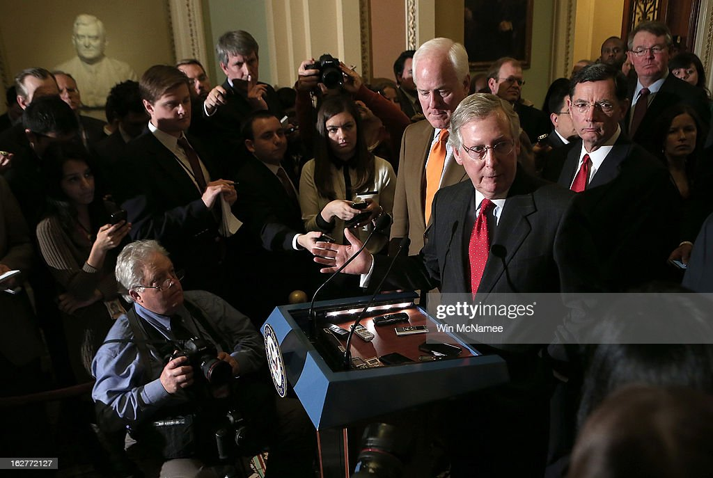 Senate Minority Leader Mitch McConnell (R-KY) speaks with members of the Republican leadership on looming sequestration cuts during a press conference following policy luncheons at the U.S. Capitol February 26, 2013 in Washington, DC. Three days remain before automatic cuts go into effect due to sequestration.