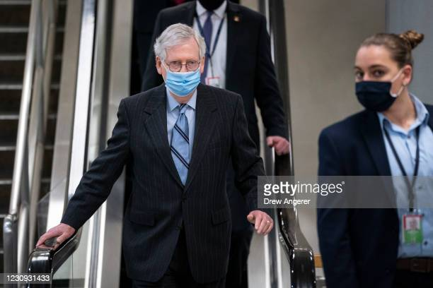 Senate Minority Leader Mitch McConnell walks through the Senate subway following a vote at the U.S. Capitol on February 2, 2021 in Washington, DC. On...