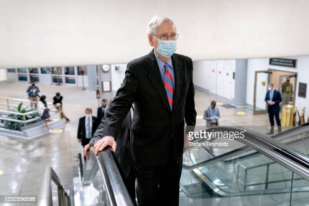 Senate Minority Leader Mitch McConnell walks through the Senate Subway at the U.S. Capitol on April 29, 2021 in Washington, DC. Many Republicans...