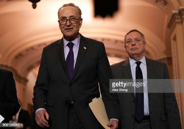 S Senate Minority Leader Sen Chuck Schumer and Senate Minority Whip Sen Dick Durbin approach the podium to speak to members of the media after a...