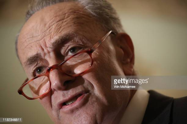 Senate Minority Leader Sen Chuck Schumer answers questions following the weekly Democratic policy luncheon at the US Capitol February 26 2019 in...