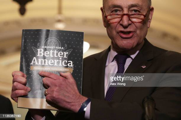 S Senate Minority Leader Sen Chuck Schumer holds up a copy of US President Donald Trump's FY2020 budget request during a news briefing after the...
