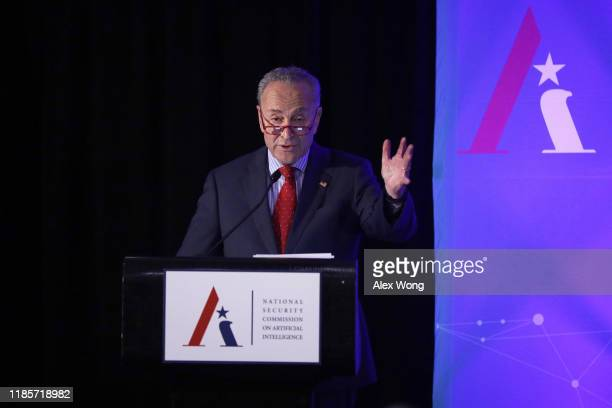 S Senate Minority Leader Sen Chuck Schumer speaks during a National Security Commission on Artificial Intelligence conference November 5 2019 in...