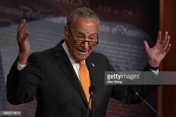 S Senate Minority Leader Sen Chuck Schumer speaks during a news conference at the US Capitol July 16 2018 in Washington DC Sen Schumer held a news...