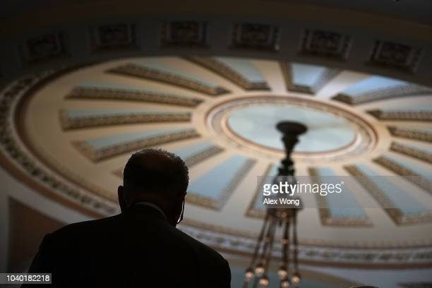 S Senate Minority Leader Sen Chuck Schumer speaks to members of the media after a weekly Senate Democratic policy luncheon September 25 2018 at the...