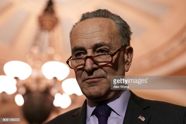 S Senate Minority Leader Sen Chuck Schumer speaks to members of the media after a Senate Democratic Policy Luncheon January 17 2018 at the Capitol in...