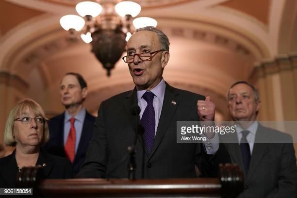 S Senate Minority Leader Sen Chuck Schumer speaks to members of the media as Senate Minority Whip Sen Dick Durbin Sen Patty Murray and Sen Ron Wyden...