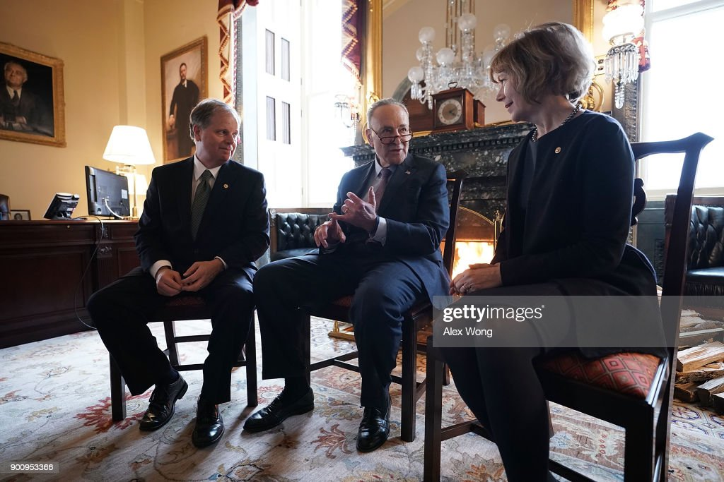 Chuck Schumer Meets With New Democratic Senators Doug Jones And Tina Smith