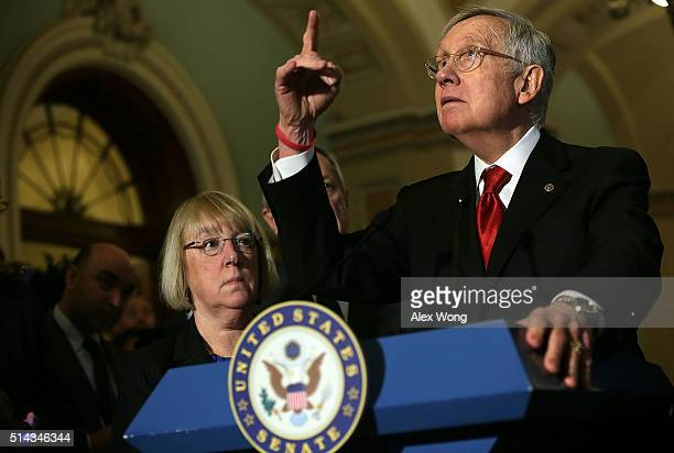 S Senate Minority Leader Sen Harry Reid and Sen Patty Murray during a news briefing after the weekly Democratic policy luncheon March 8 2016 on...