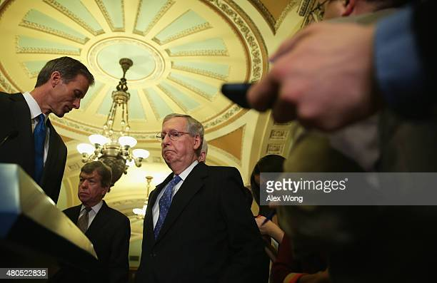 Senate Minority Leader Sen. Mitch McConnell , Sen. Roy Blunt , and Sen. John Thune speak to members of the media after the weekly Senate Republican...