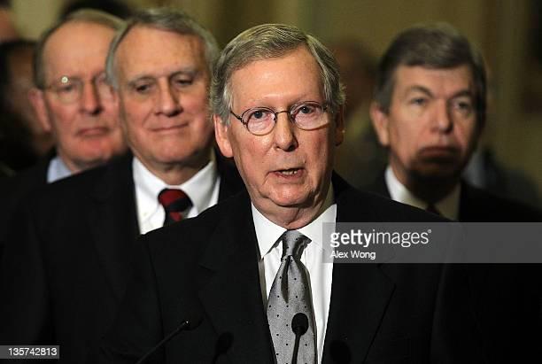 S Senate Minority Leader Sen Mitch McConnell speaks as Sen Lamar Alexander Senate Minority Whip Sen John Kyl and Sen Roy Blunt listen during a news...