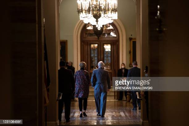 Senate Minority Leader Senator Mitch McConnell walks to the Senate floor during the second day of former US President Donald Trump's impeachment...