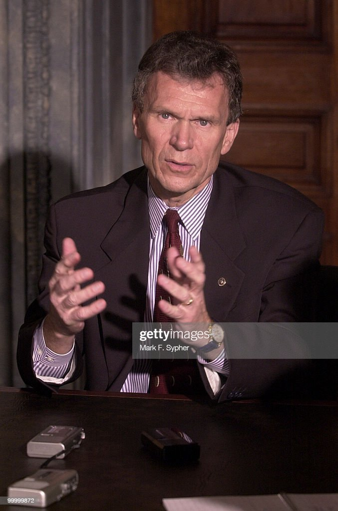 Senate Minority Leader, Thomas A. Daschle (D-SD) speaks to reporters in his chambers on Wednesday.