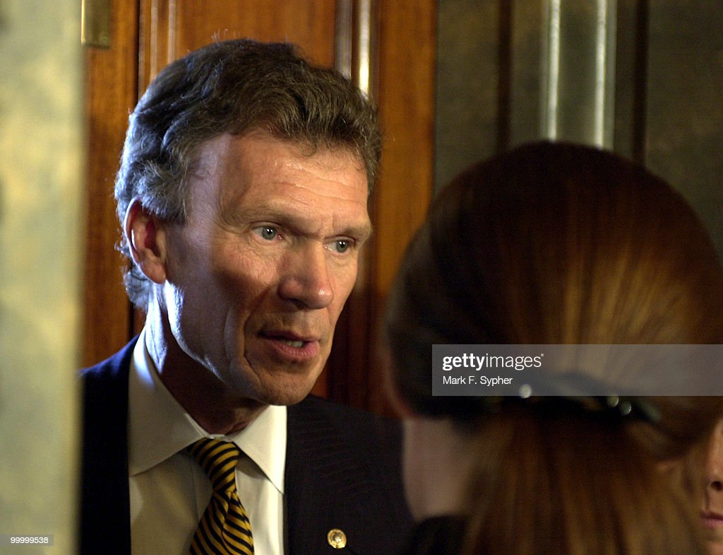 Senate Minority Leader Tom Daschle (D-SD), answers questions before retreating back to is office on Wednesday. Daschle promised to use both hard and soft money to finance his campaigns in South Dakota, until he wasn't allowed to anymore. He estimated his campaign cost between $10 and $13 million.