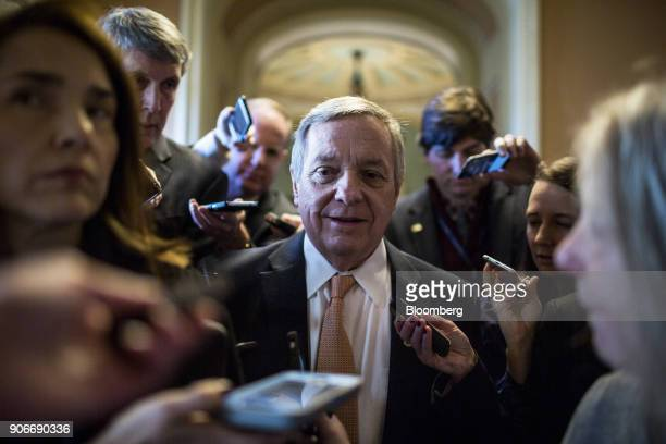 Senate Minority Whip Dick Durbin a Democrat from Illinois speaks to members of the media near the Senate Chamber on Capitol Hill in Washington DC US...