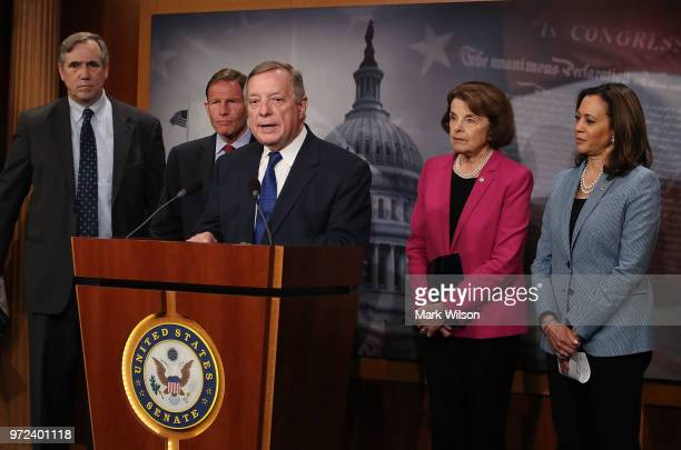 Senate Minority Whip Dick Durbin speaks about the Keep Families Together Act which aims to prevent the separation of immigrant children from their...
