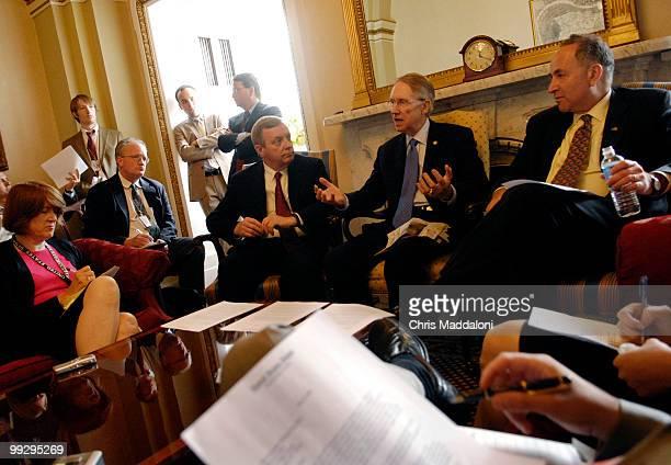 Senate Minority Whip Richard Durbin DIll Senate Minority Leader Harry Reid DNev and Sen Charles Schumer DNY speak at a pen and pad briefing on the...