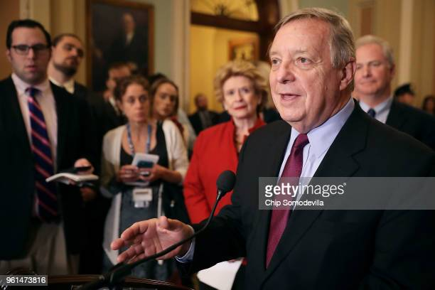 Senate Minority Whip Richard Durbin talks to reporters follow the weekly Senate Republican policy luncheon at the US Capitol May 22 2018 in...