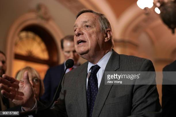 S Senate Minority Whip Sen Dick Durbin speaks to members of the media after a Senate Democratic Policy Luncheon January 17 2018 at the Capitol in...