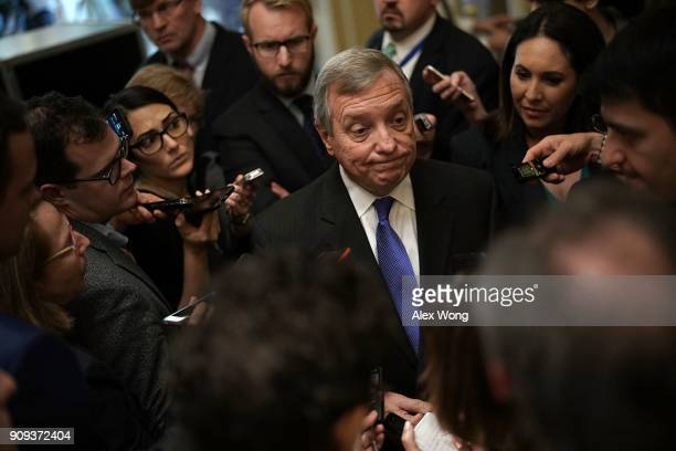 S Senate Minority Whip Sen Dick Durbin speaks to members of the media after a weekly Senate Democratic Policy Luncheon January 23 2018 at the US...