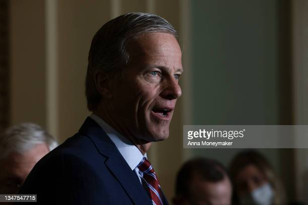 Senate Minority Whip Sen. John Thune address reporters following a weekly Republican policy luncheon at the U.S. Capitol on October 19, 2021 in...