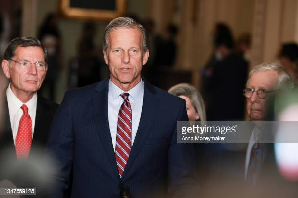 Senate Minority Whip Sen. John Thune addresses reporters following a weekly Republican policy luncheon at the U.S. Capitol on October 19, 2021 in...