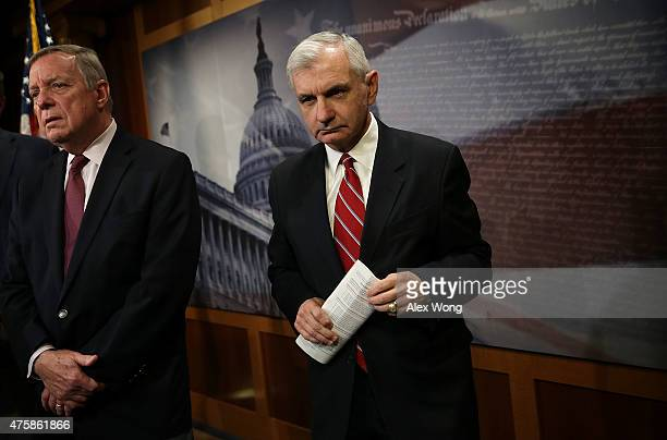 S Senate Minority Whip Sen Richard Durbin and Sen Jack Reed participate in a news conference June 4 2015 on Capitol Hill in Washington DC The...