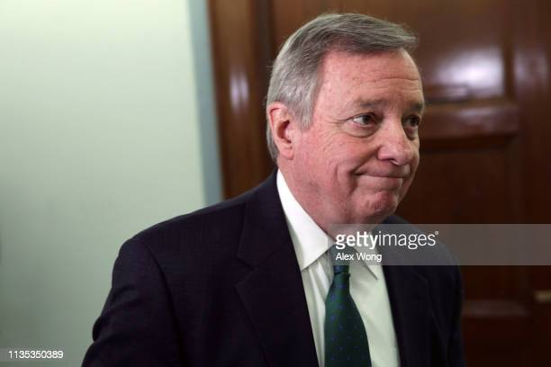 S Senate Minority Whip Sen Richard Durbin leaves a hearing before the Senate Judiciary Committee March 12 2019 on Capitol Hill in Washington DC The...