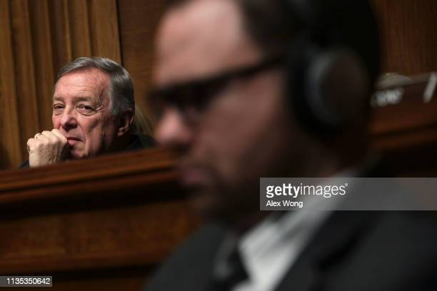 S Senate Minority Whip Sen Richard Durbin listens during a hearing before the Senate Judiciary Committee March 12 2019 on Capitol Hill in Washington...