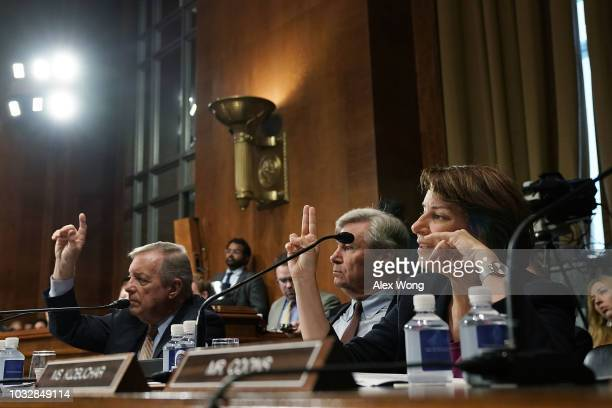 US Senate Minority Whip Sen Richard Durbin Sen Sheldon Whitehouse and Sen Amy Klobuchar participate in a markup hearing before the Senate Judiciary...