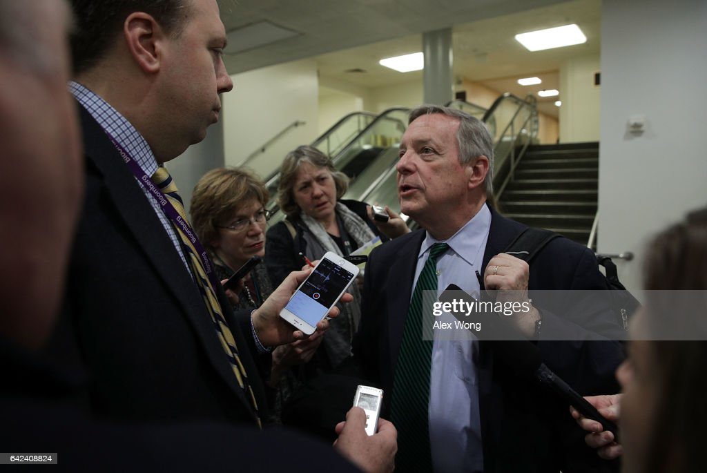 U.S. Senate Minority Whip Sen. Richard Durbin (D-IL) speaks to members of the media at the Capitol February 17, 2017 in Washington, DC. FBI Director James Comey was on Capitol Hill to meet closed door with Senate members.