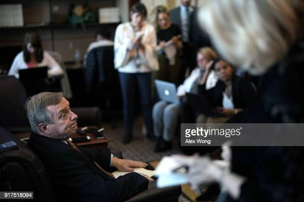 S Senate Minority Whip Sen Richard Durbin speaks to members of the media on immigration during a pen and pad at the Capitol February 12 2018 in...