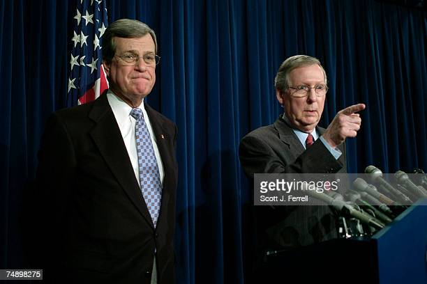 Senate Minority Whip Trent Lott RMiss and Senate Minority Leader Mitch McConnell RKy during a news conference on the Iraq resolution Two Republican...
