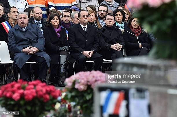 Senate President Gerard LarcherParis Mayor Anne Hidalgo French President Francois Hollande and French Prime Minister Manuel Valls attend The Tribute...