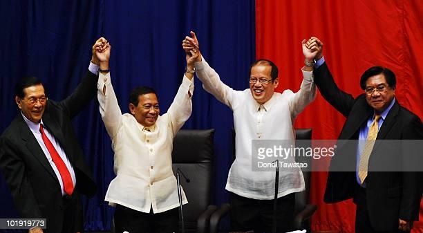 Senate President Juan Ponce Enrile Vice Presidentelect Jejomar Binay Presidentelect Benigno Noynoy Aquino and House Speaker Prospero Nograles...
