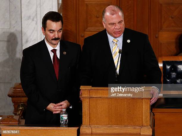 Senate President Steve Sweeney and Assembly Speakerelect Vincent Prieto call the chamber to order before New Jersey Gov Chris Christie delivers the...
