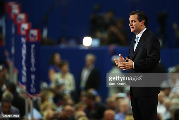 Senate Republican Candidate Texas Solicitor General Ted Cruz speaks during the Republican National Convention at the Tampa Bay Times Forum on August...