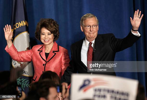 S Senate Republican Leader Sen Mitch McConnell and his wife Elaine Chao arrive for a victory celebration following the early results of the state...
