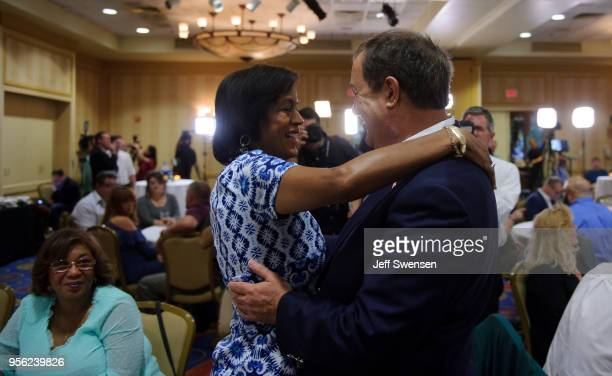 S Senate Republican primary candidate Don Blankenship greets supporters following the closing of the polls May 8 2018 in Charleston West Virginia...