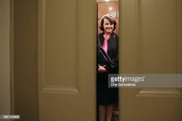 Senate Select Committee on Intellegence Chairman Dianne Feinstein takes an elevator in the US Capitol April 16 2013 in Washington DC The Senate...