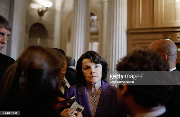 Senate Select Committee on Intelligence Chair Dianne Feinsten talks with reporters before heading to the Senate floor at the US Capitol May 8 2012 in...