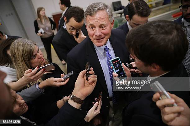 Senate Select Committee on Intelligence Chairman Richard Burr talks to reporters following a closeddoor classified briefing from the heads of the US...