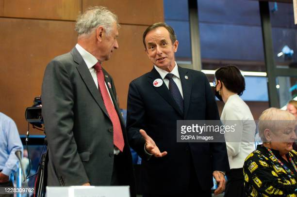 Senate Speaker Tomasz Grodzki seen during the debate at the European Solidarity Center on the Anniversary of August Agreements. The 40th anniversary...