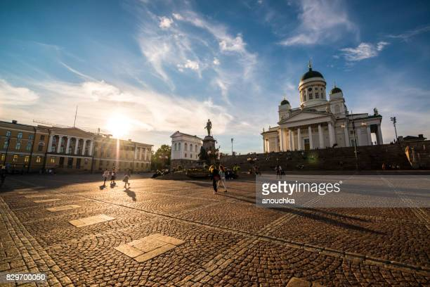 Senate Square with Helsinki Cathedral and tourists sightseeing, Finland
