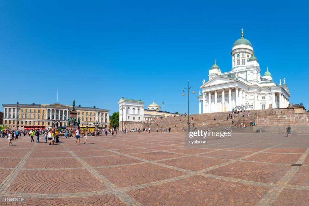 Senate Square with St. Nicholas Church, Helsinki : Stock Photo