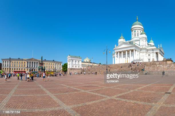 senate square with st. nicholas church, helsinki - syolacan stock pictures, royalty-free photos & images